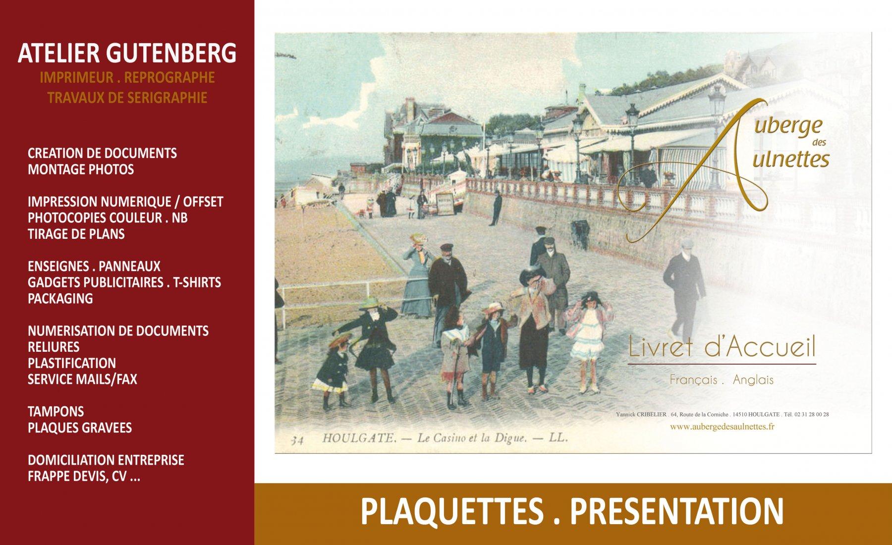 ateleir gutenberg couverture du livret d'accueil de l'auberge des aulnettes