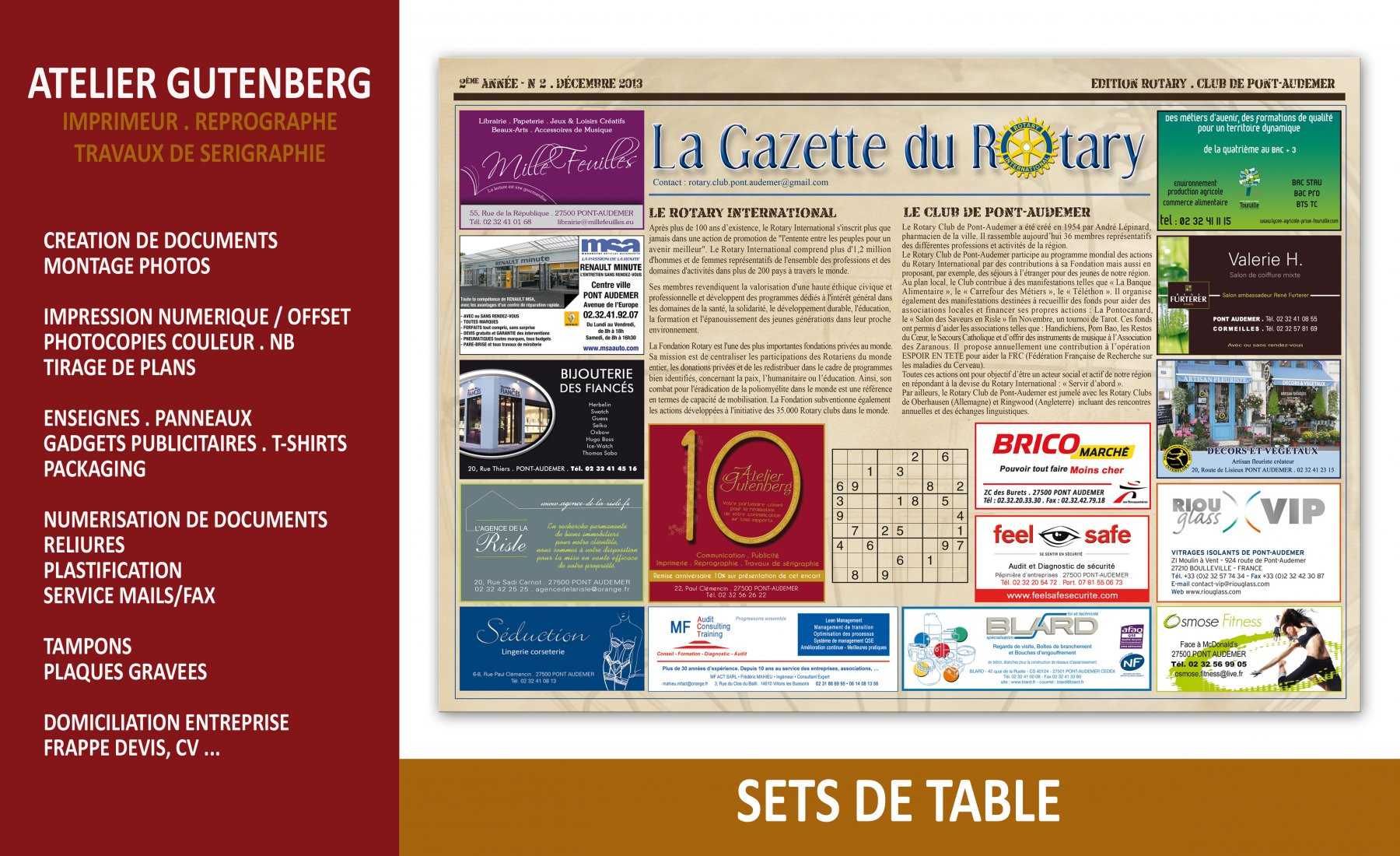atelier gutenberg set de table du rotary format 29.7 x 42