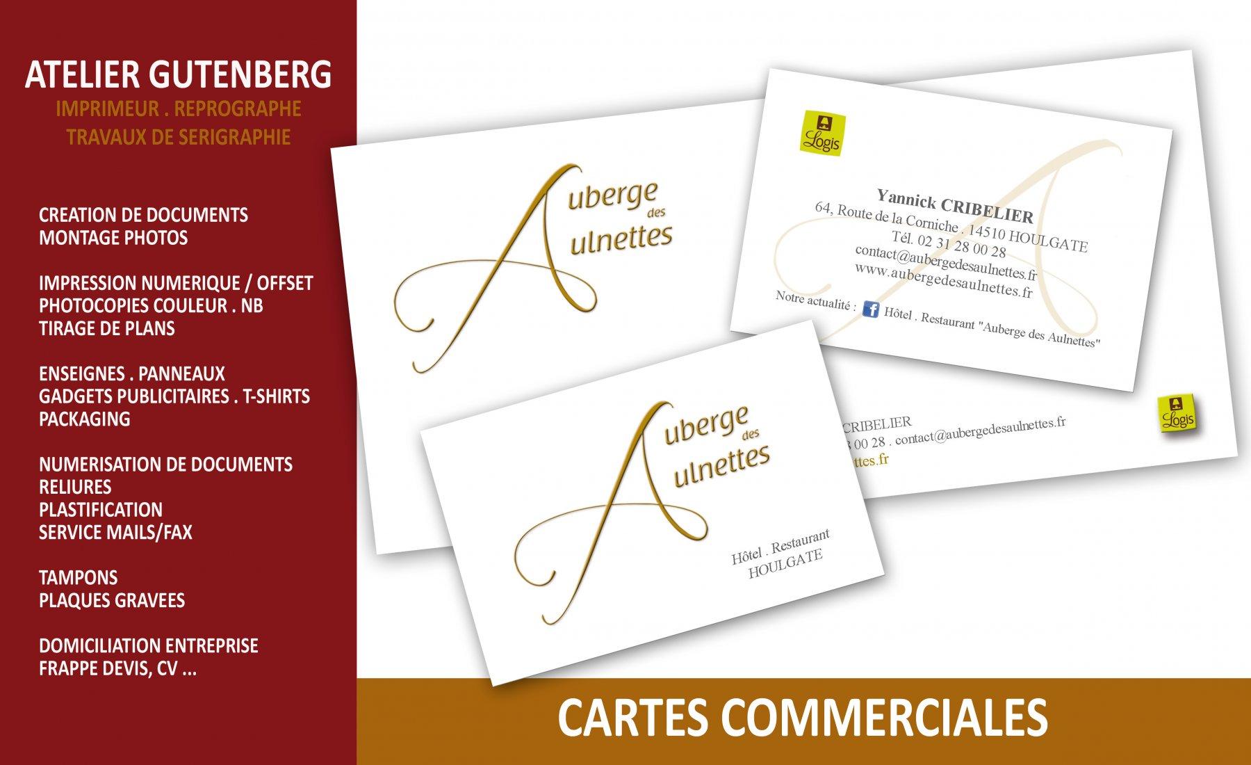 atelier gutenberg cartes de correspondance et cartes commerciales de l'auberge des aulnettes