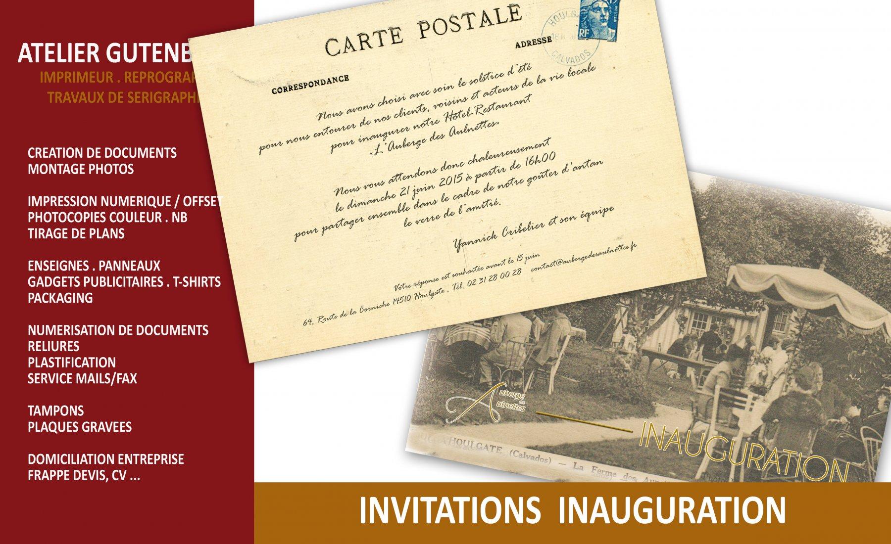 atelier gutenberg invitation à l'ancienne fait pour l'auberge des aulnettes à l'occasion de l'inauguration de l'hôtel restaurant