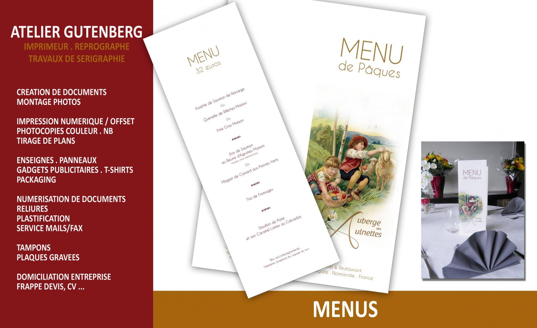 atelier gutenberg menus de pâques réalisés pour l'auberge des aulnettes