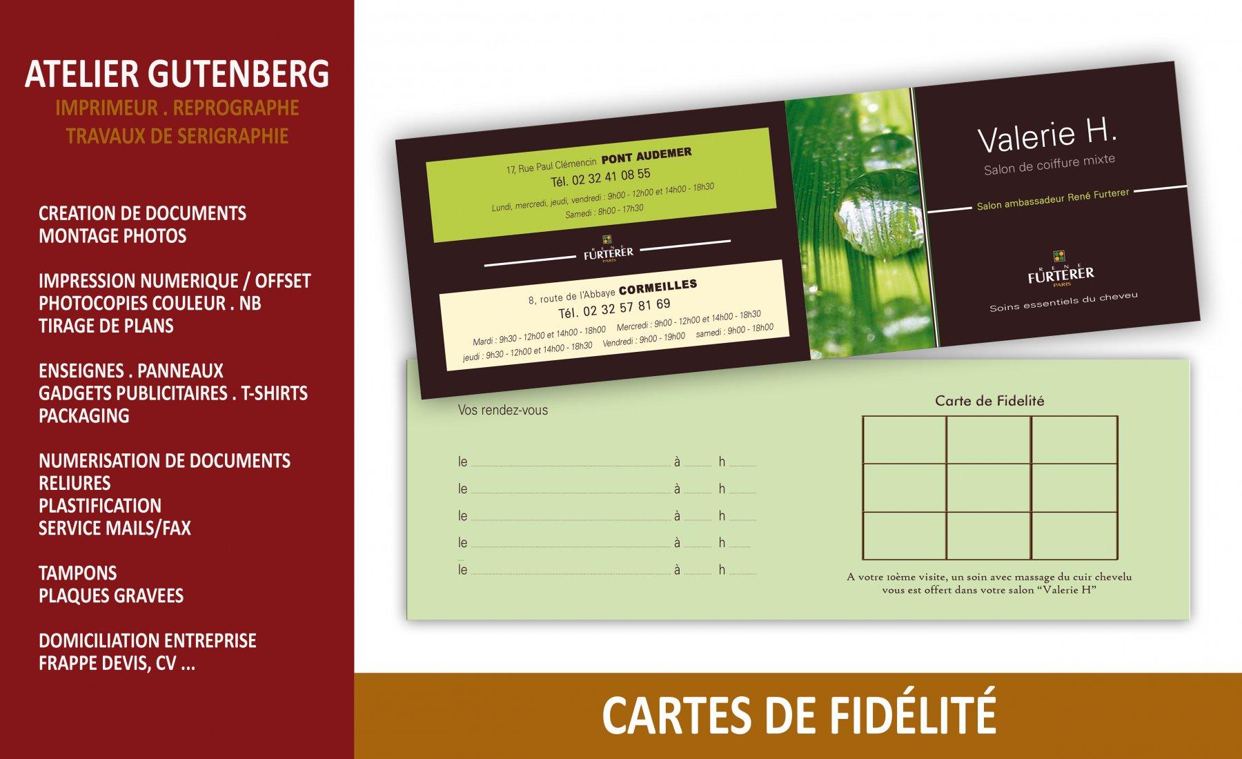 atelier gutenberg cartes de fidelité et de rendez vous impression quadri recto verso sur couché 350 gr avec pelliculage mat recto verso