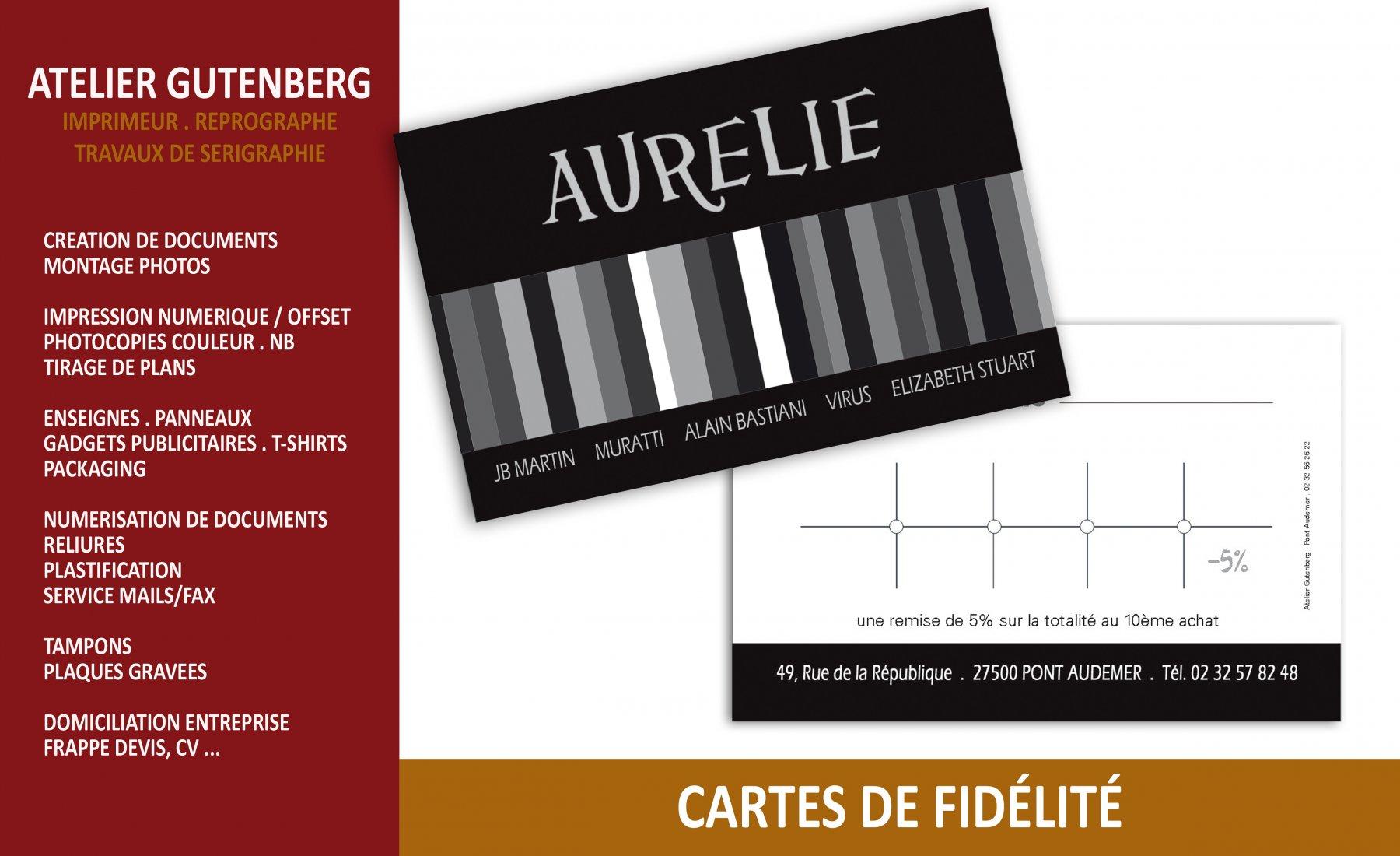 atelier gutenberg cartes de fildélité impression quadri recto verso sur couché 350 gr avec un pelliculage mat recto