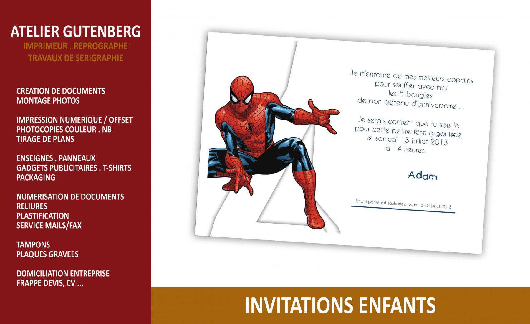 atelier gutenberg invitation enfant pour un aniversaire impression numérique couleur sur un support 250 gr.