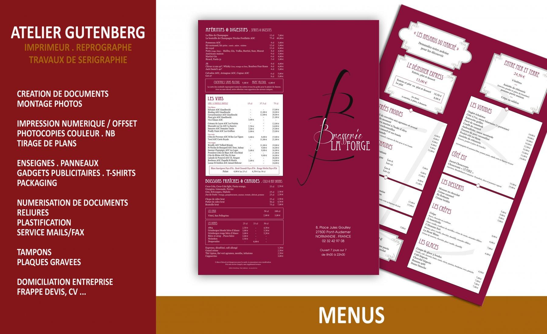 atelier gutenberg menu format 29.7 x 42 avec 1 pli impression quadri recto verso avec un pelliculage mat