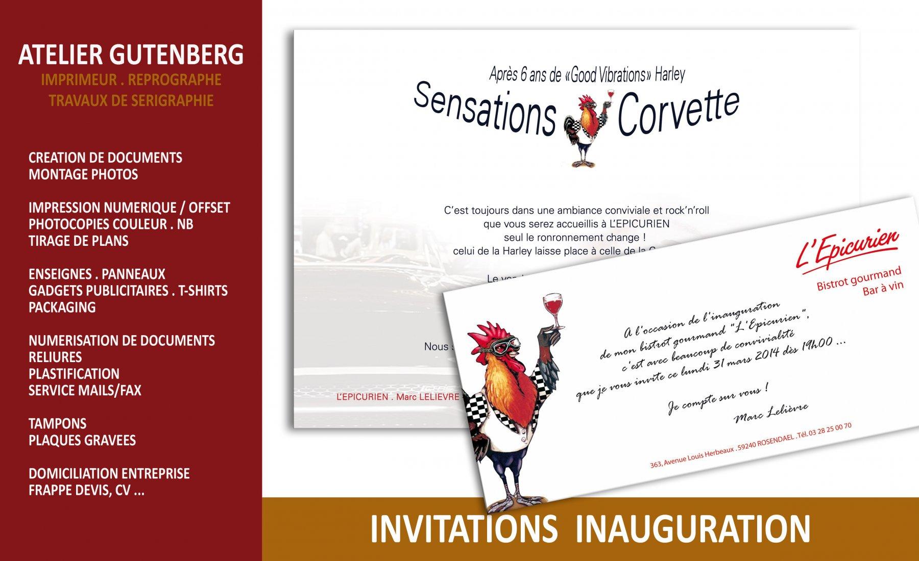 atelier gutenberg invitation format A5 et carte de correspondance pour une inauguration impression numérique couleur recto sur support 250 gr.
