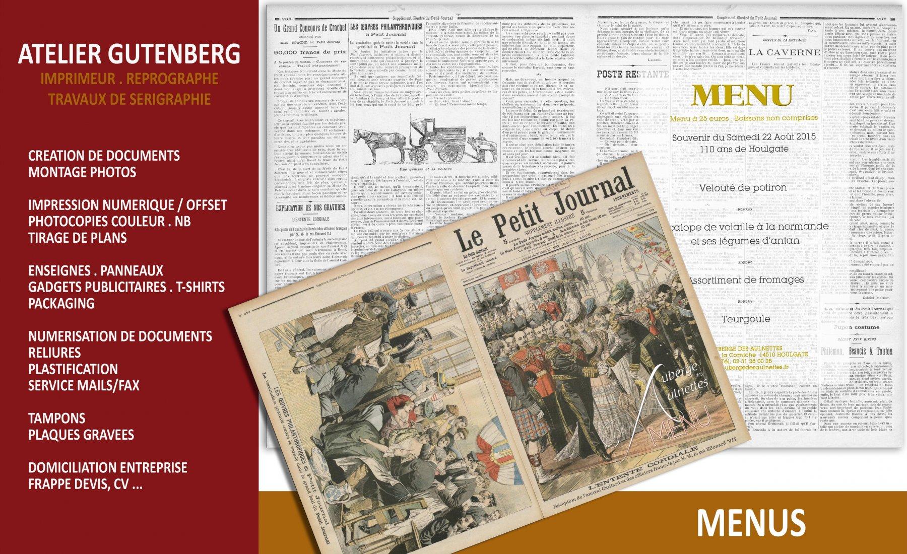 ateleir gutenberg menu en format A4 impression numerique couleur recto verso avec 1 pli