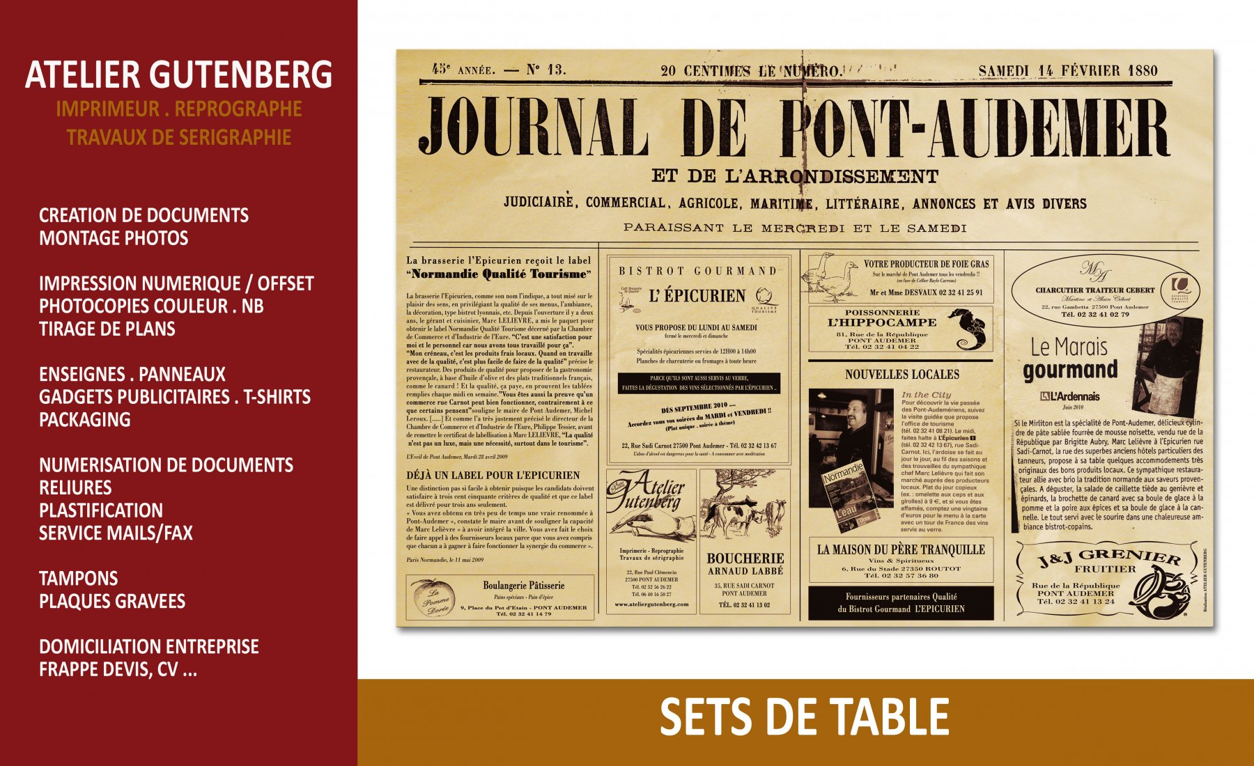 atelier gutenberg set de table