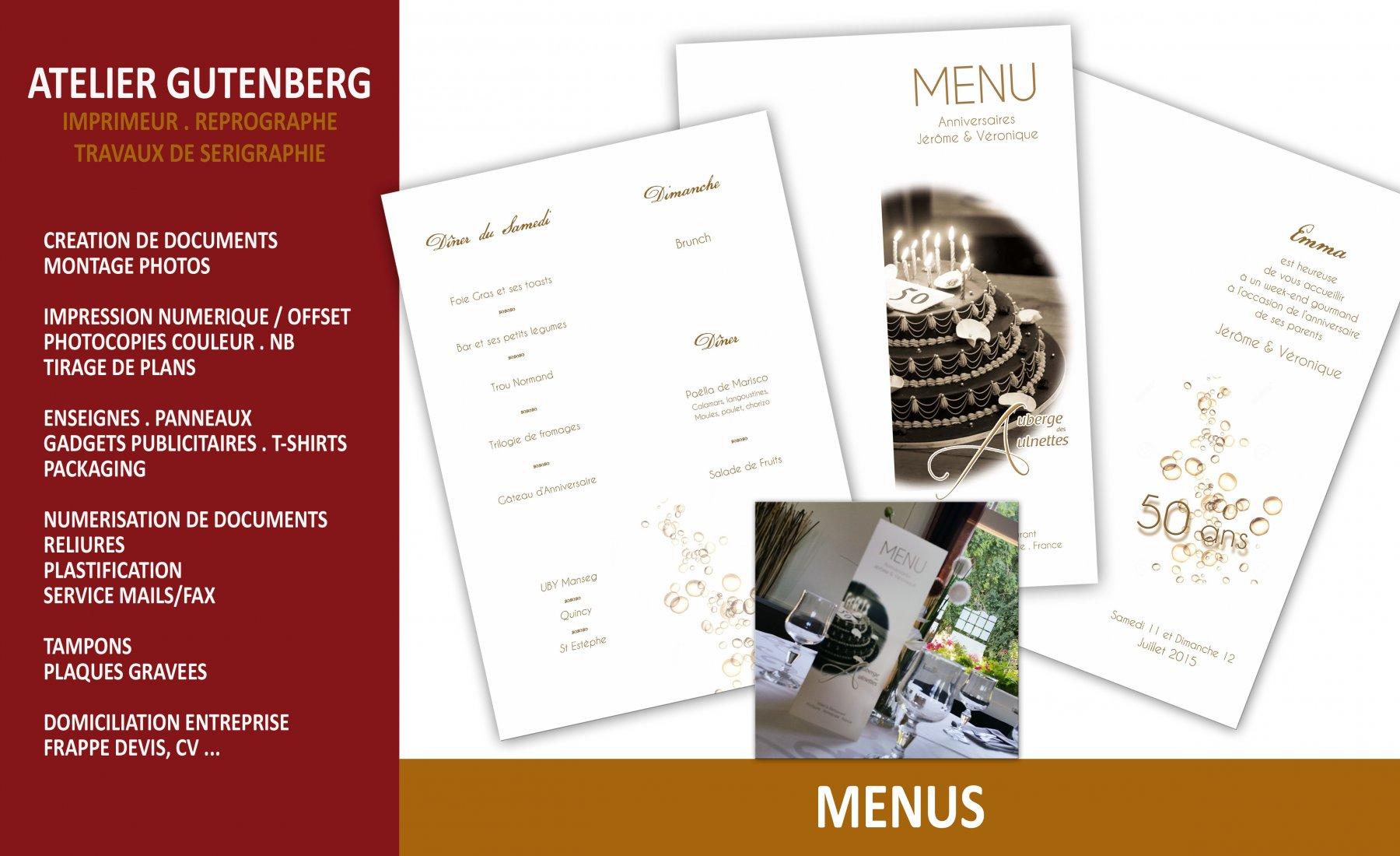 atelier gutenberg menu de mariage fait pour l'auberge des aulnettes