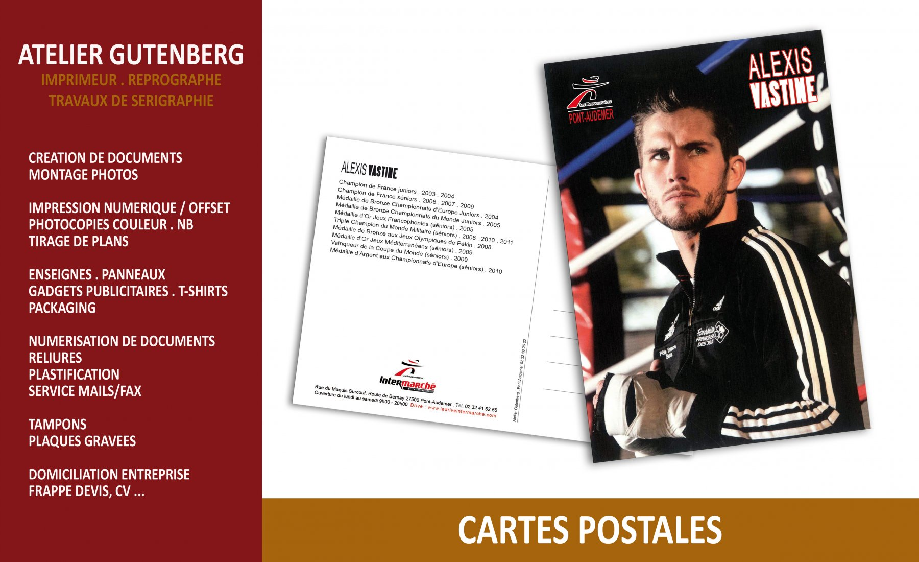 ateleir gutenberg cartes postales recto verso sur couché 350 gr avec pelliculage brillant recto