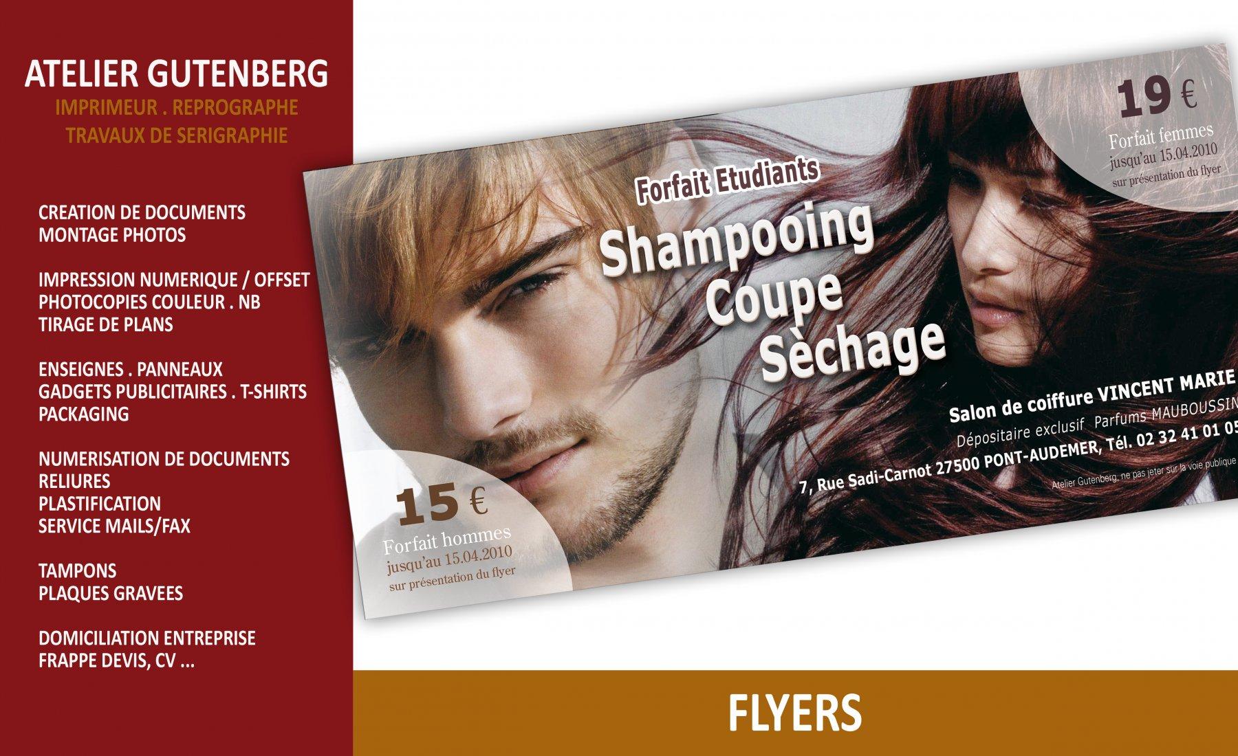 atelier gutenberg flyer pour coiffeur format 210 x 100 impression quadri sur couché 135 gr.