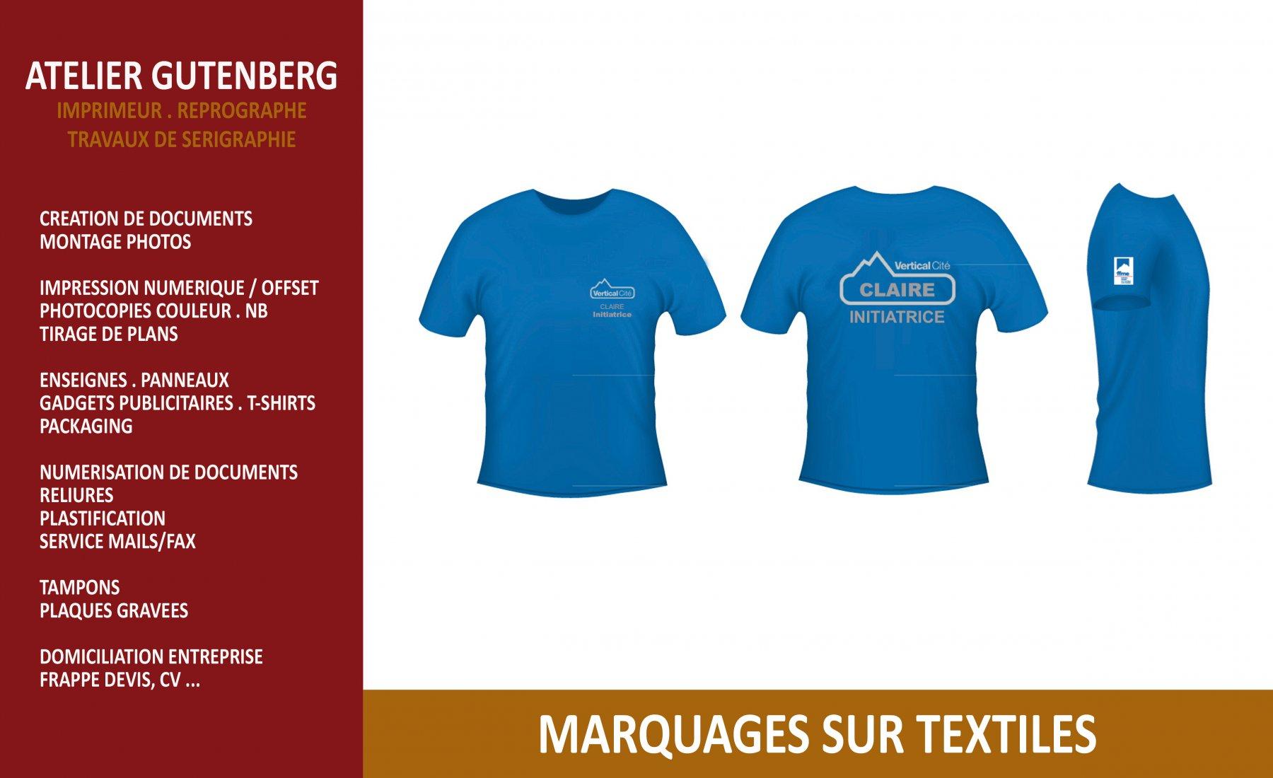 atelier gutenberg t-shirt bleu avec marquage coeur dos et manche